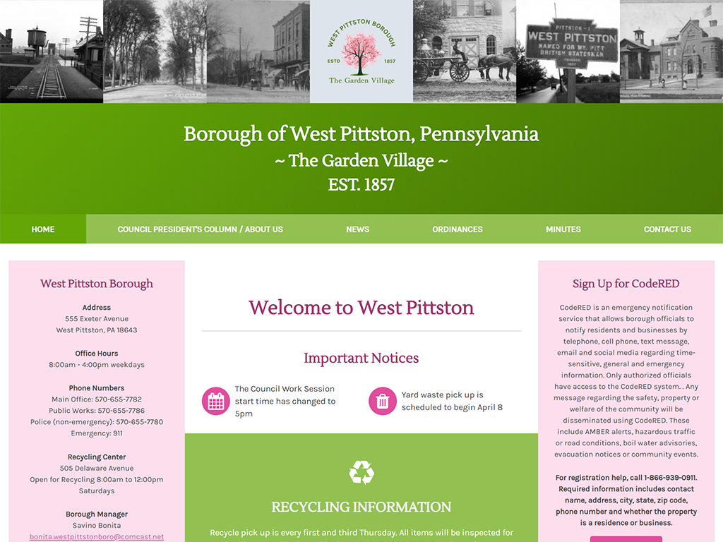 West Pittston Borough Website and Logo Design