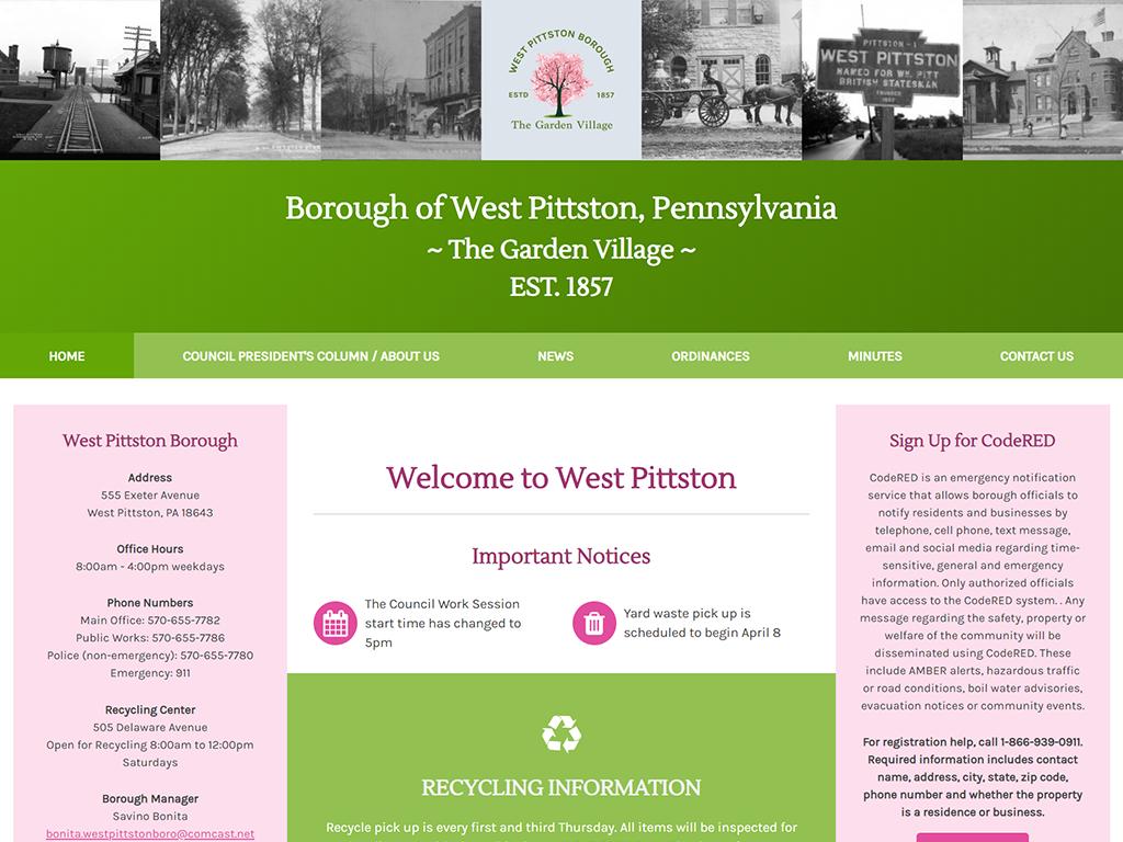 West Pittston Borough Website and Logo Design