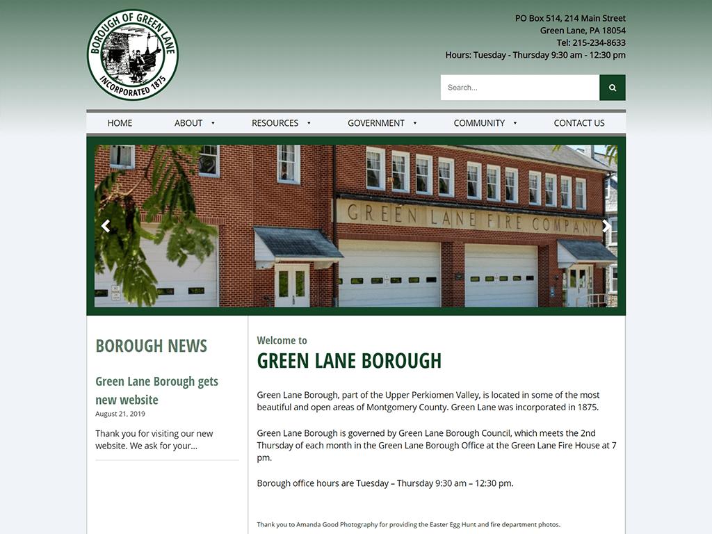 Borough of Green Lane Website designed by PSAB Web Design Program