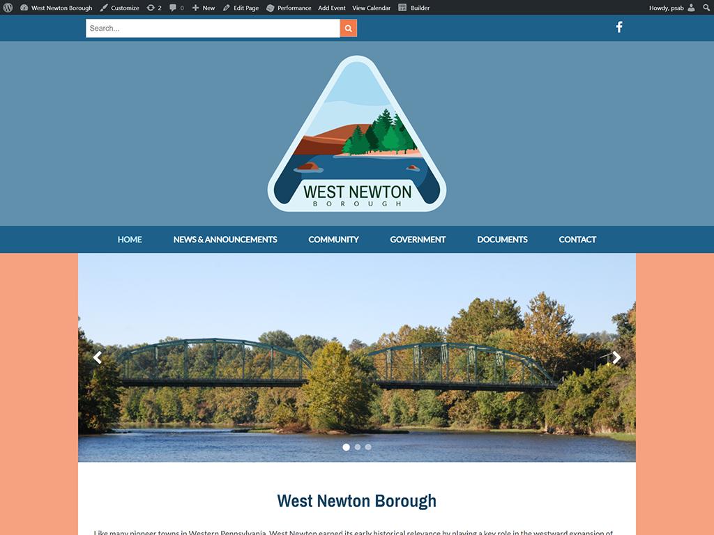 Screenshot of West Newton Borough's Website