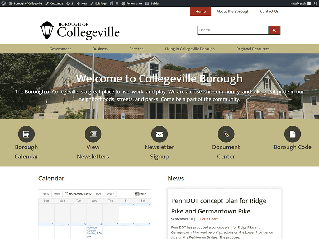 Borough of Collegeville Website designed by PSAB Web Design Program