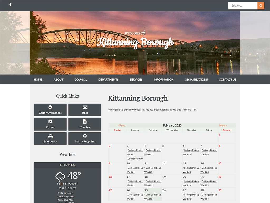 Kittanning Borough Website designed by PSAB Web Design Program