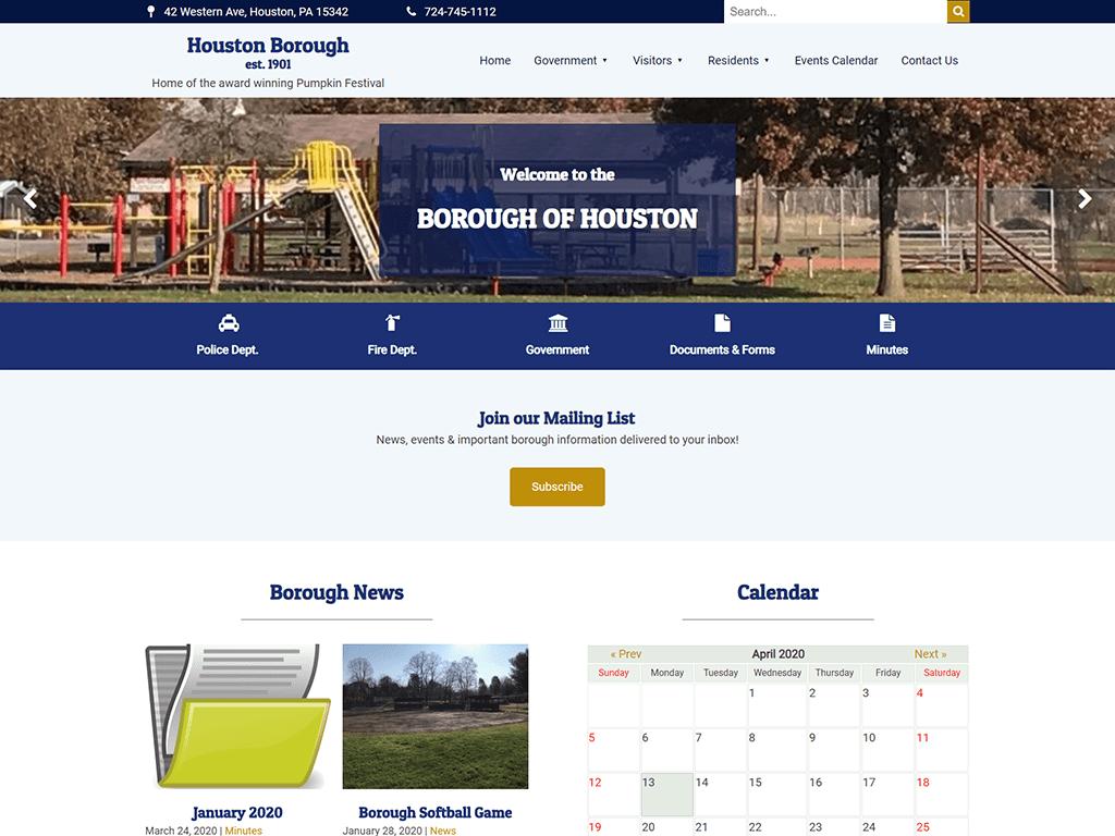 Houston Borough Website designed by PSAB Web Design Program