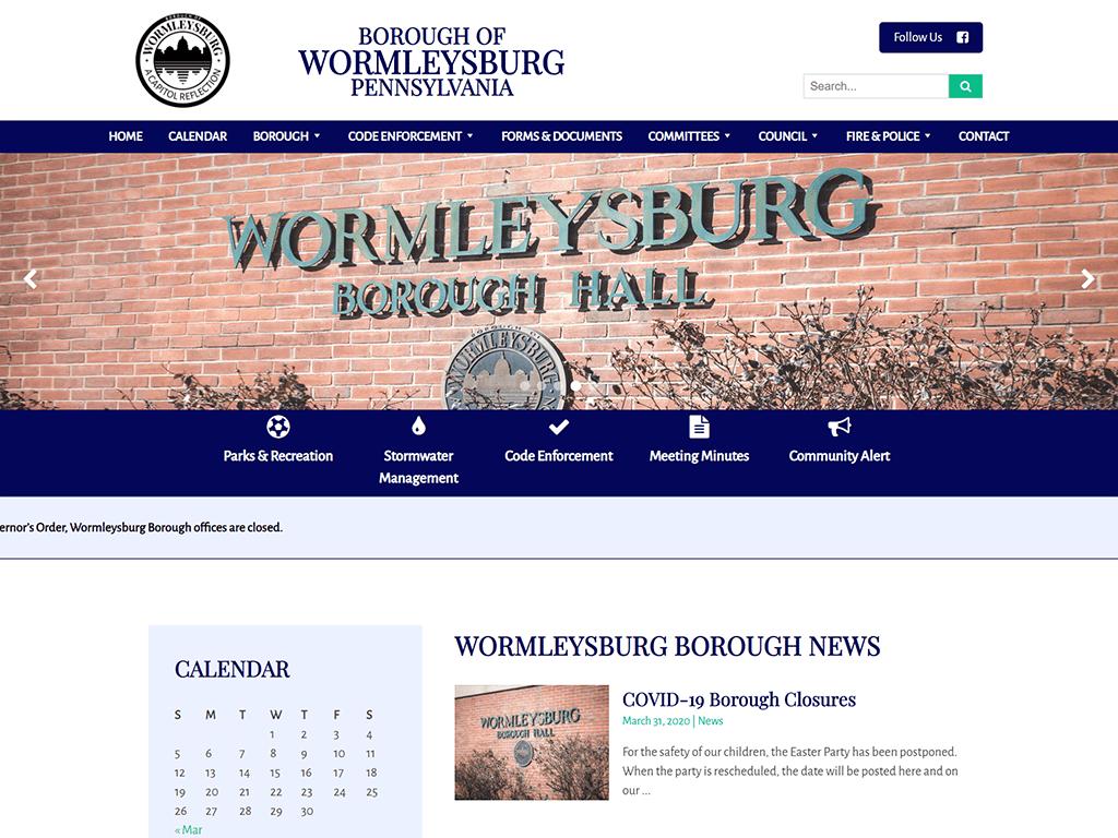 Wormleysburg Website designed by PSAB Web Design Program