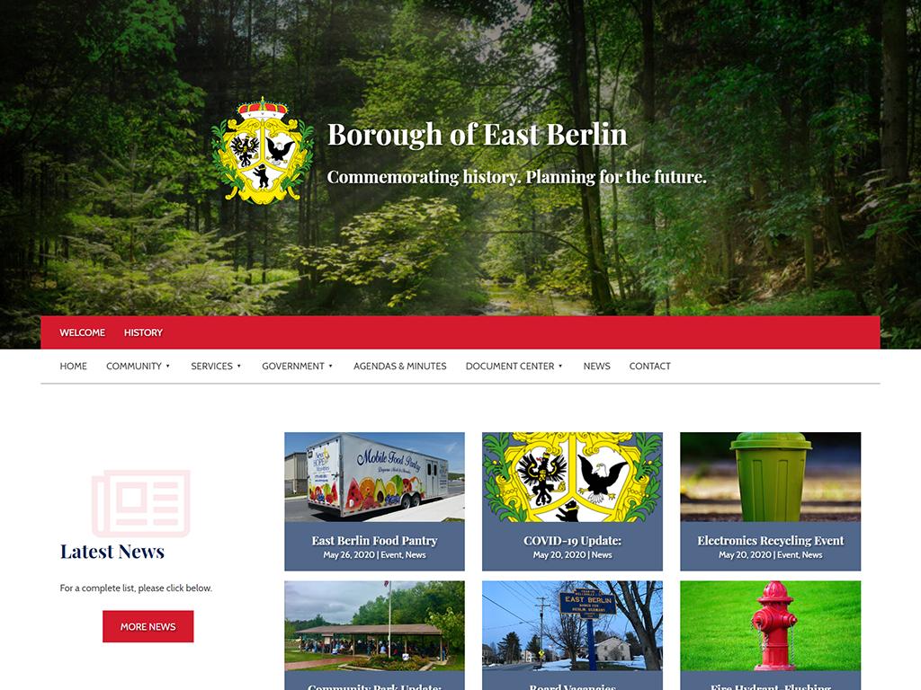 East Berlin Borough Website designed by PSAB Website Design Program