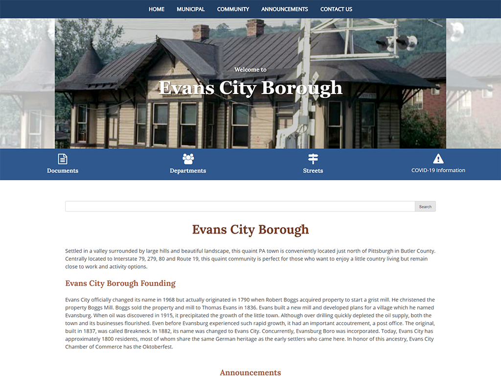 Eavans City Website designed by PSAB Webdesign Program